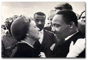 Emily Douglas with Martin Luther King Jr., after a protest march in Selma, Alabama, 1965