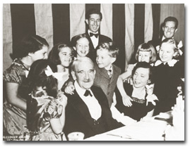 John Dewey celebrates his 90th birthday at a party given in his honor in 1949. (Photo; courtesy of Special Collections/Morris Library, Southern Illinois University, Carbondale)