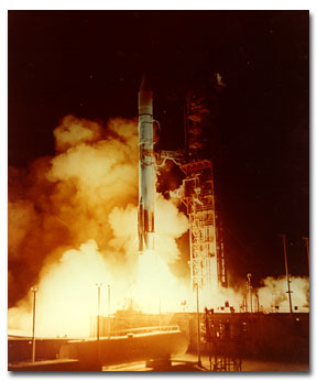 The launch of the OAO by an Atlas Centaur rocket.