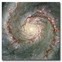 An image from the Hubble Space Telescope the Whirlpool Galaxy, M31.