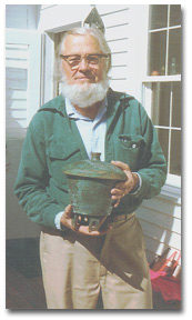 Arthur Foote in 1974 with a piece of his pottery.
