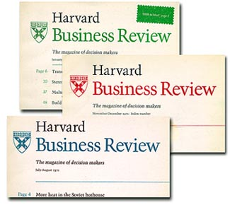 Covers of the Harvard Business Review, where Bursk was editor