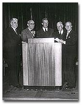 At the Unitarian convocation at John Hancock Hall, left to right, Dr. Frederick M. Eliot, president of the American Unitarian Association; Ernest B. MacNaughton, president of Reed College, Oregon, chairman; John Holmes, professor of English literature at Tufts College; Everett Moore Baker, dean at Massachusetts Institute of Technology, and Joseph C. Harsch, chief of the Washington bureau of the Christian Science Monitor (Photo by Calvin Campbell, May 24, 1950).