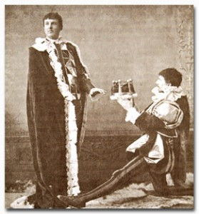 Eliot at left, as an actor in Harvard's Hasty Pudding Theatricals