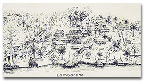The handwriting reads: 'Lambarene. To Dr. Ostergaard-Christensen and his wife in memory of three months (6.9 to 6.12.58 at Lambarene.