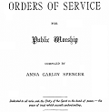 Title Page of Orders of Service for Public Worship