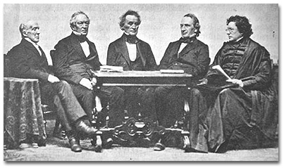From left to right, Josiah Quincy (1829-1845), Edward Everett (1846-1849), Jared Sparks (1849-1853), James Walker (1853-1860), and Cornelius Conway Felton (1860-1862)