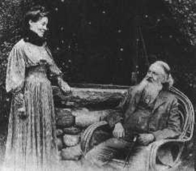 Peirce and his wife Juliette in front of their home, 1908
