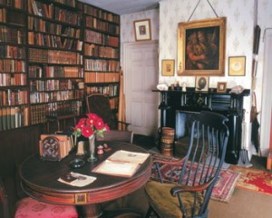 Emerson's study, containing the circular table he designed. Courtesy of the Concord Museum.