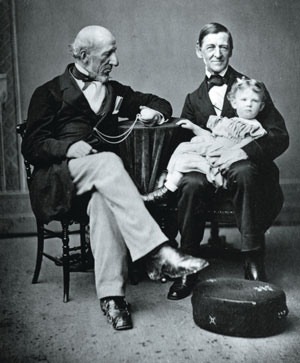 Emerson's first grandson, Ralph Waldo Forbes, enjoying the company of his two grandfathers, Ralph Waldo Emerson and John Forbes. Emerson's family gave him enormous comfort in his declining years.  Courtesy of the Concord Free Public Library