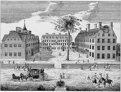 Harvard, Stoughton, and Massachusetts Halls in 1755
