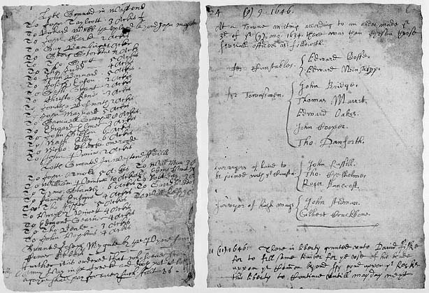 Town Records. Left: William Spencer, town clerk from 1632-1635. Right: Thomas Danforth, town clerk from 1645-1668