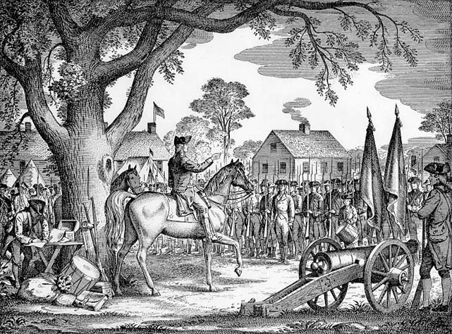 George Washington takes command of the continental army, c. 1775. From a drawing by Paul Hawthorne, 1941.