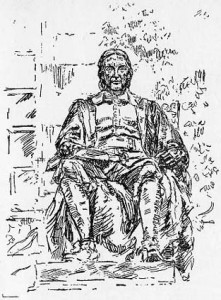 Sketch of the Statue of John Harvard in Harvard Yard
