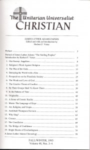 The Unitarian Universalist Christian, Vol. 48, nos. 3-4, Table of Contents.
