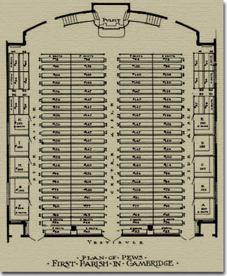 Seating plan of The Meeting House in 1914.