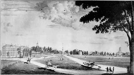 View of the Cambridge Common, ca. 1808-9, with Harvard College on the left and Christ Church on the right. From <em>From Views of Harvard</em>.