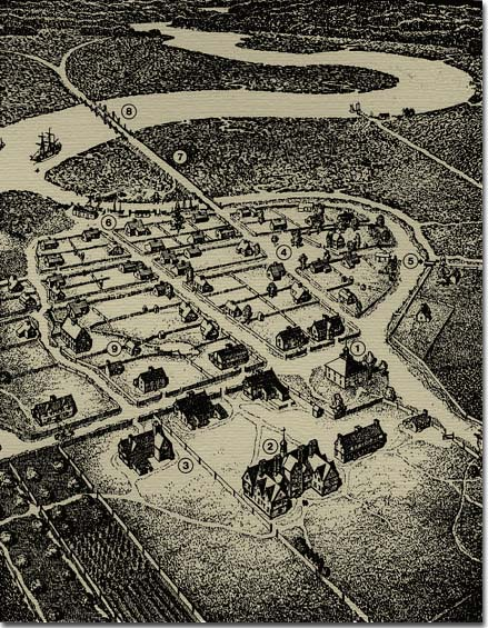 Drawing of Cambridge in 1668 by Harold R. Shurtleff.