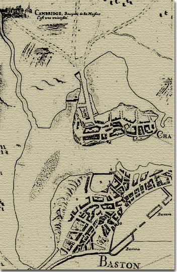Boston, Charlestown and Cambridge in 1693  by J. P. L. Franquelin.