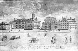Harvard College in 1767  from Views of Harvard, Harvard University Press.
