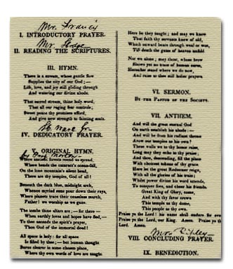 Order of Services at the Dedication of the Church, December 12, 1833.