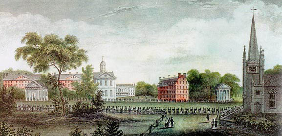 The procession of the Alumni from the Church to the Pavillion, September 8, 1836. From The History of Harvard University by Josiah Quincy, L.L.D.