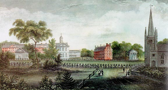 Harvard University. Eliza Susan Quincy's drawing of the September 1836 procession of Harvard alumni leaving the First Parish Meeting House and walking to the Pavilion. From <em>Views of Harvard</em>.