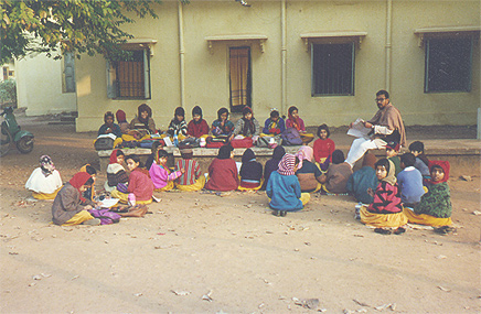 Children's class outdoors at Visva Bharati, Santiniketan