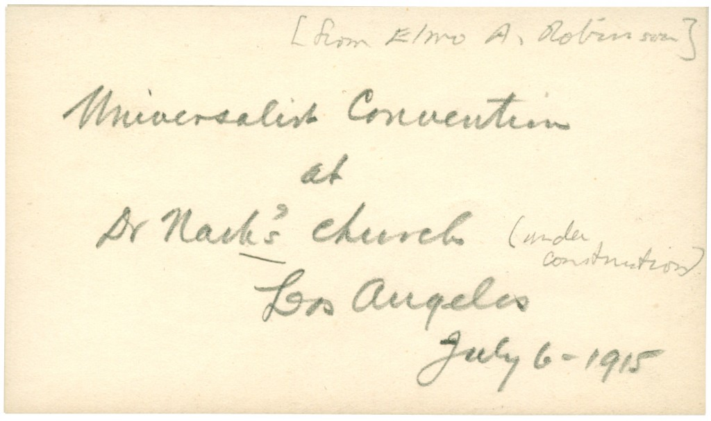 Back Side of photo of Universalist Convention at St. Mark's Church, Los Angeles, July 6, 1915. Courtesy of Andover-Harvard Theological Library.