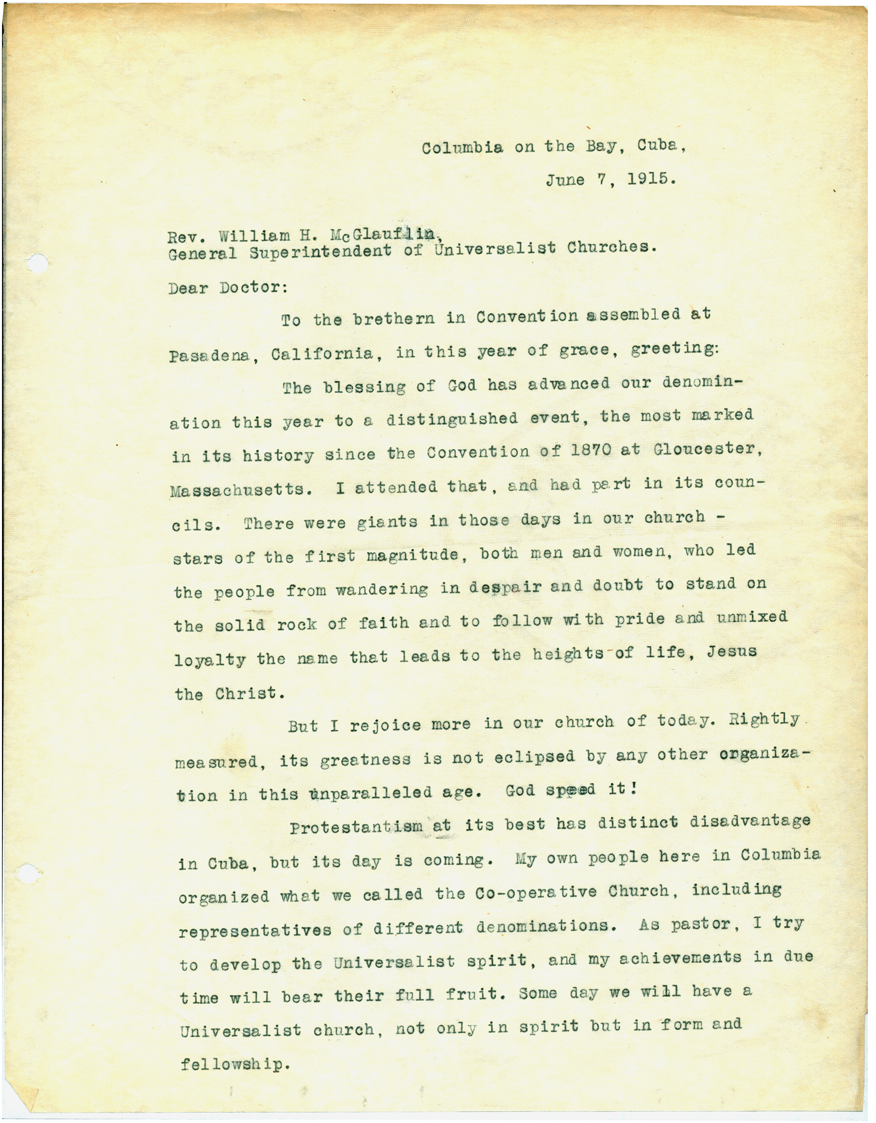 Page 1 Of Letter From Jacob Straub Cuba To The