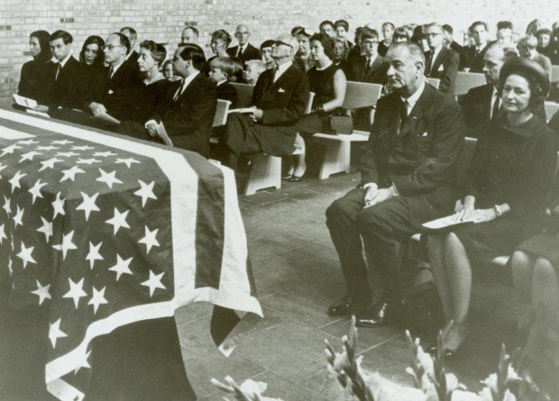 President John at Adlai Stevenson's memorial at the Unitarian Church in Bloomington, IL.  Photo courtesy of the McLean County Museum of History.