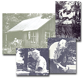 Dewey working and studying at his summer retreat at Hubbards, Nova Scotia in the mid-1940s