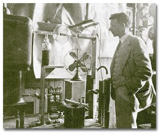 William D. Coolidge examining his hot cathode, high vacuum X-ray tube, 1913