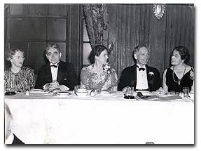 Leading Unitarians at the festival and fellowship dinner of the annual meeting of the American Unitarian Association at the Chamber of Commerce. Left to right: Mrs. Robert C. Dexter, speaker; Dr. Frederick May Eliot, association president; Mrs. Eliot; William Roger Greeley, chairman; and Dr. Aurelia H. Reinhardt, president of Mills College, newly elected moderator of the association (May 24, 1940, courtesy of the Boston Public Library, Print Department).