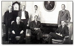 The Corporation of Harvard University, circa 1945. Front, left to right: Dr. Roger I. Lee, Grenville Clark, President James B. Conant. Rear, left to right: Paul Cabot, Charles A. Coolidge, William L. Marbury, Henry L. Shattuck.