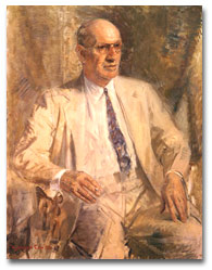 Lessing J. Rosenwald, Director of Sears, Roebuck & Company and founding benefactor of the National Gallery of Art, by Gardner Cox, 1955