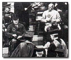 """""""Ceremony in the rain."""" Harvard Tercentenary celebration, September 19, 1936. Franklin D. Roosevelt & Grenville Clark."""