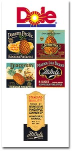 The Dole company's current logo, with a selection of its predecessors