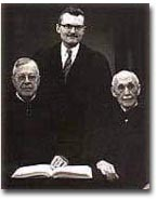 Booth and his two Ministers Emeritii of The First Church in Belmont, MA. (l) Dr. Henry Wilder Foote (also former Professor of Homiletics, Harvard Divinity School), (r) Dr. Marion Franklin Ham, Dean of Unitarian Hymn Writers (c. 1956).
