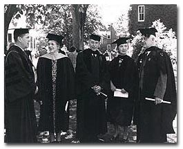 Dr. Eliot among Robert Bradford, Margaret Sanger, and others at the 1949 Smith College Commencement