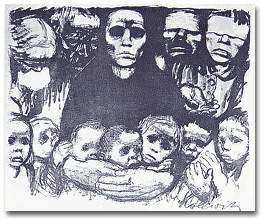 "Etching, The Prisoners. This is the last etching in the series on the ""Peasants War."" It shows the prisoners tied and herded together after the defeat of the rebellion. The artist's first great series of prints was on the ""Weaver's Revolt,"" and this series on the Peasants war followed. The poverty and oppression suffered by the lower classes was a constant theme in her art."