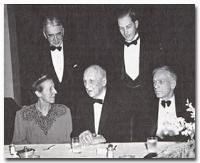 50-year celebration, seated l. to r. Mrs Lawrence G. Brooks, Samuel Atkins Eliot, William Roger Greeley. Standing l. to r. Frederick May Eliot, Dana McLean Greeley