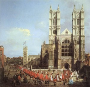 """Procession at Westminister Abbey,""  Canaletto, (1749)"