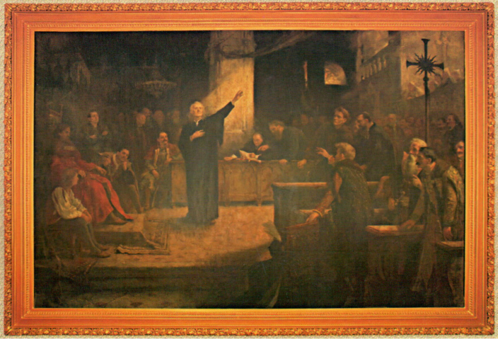"""""""The Proclamation of the Act on Religious Freedom at the 1568 Session of the Transylvanian Diet"""" by Aladár Körösfői Kriesch, 1896."""