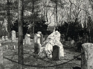 "Emerson is buried in Concord's Sleepy Hollow Cemetery, on ""Author's Ridge.""  Courtesy of the concord Free Public Library"