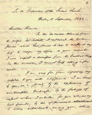 Emerson's resignation letter. Courtesy of the Massachusetts Historical Society.