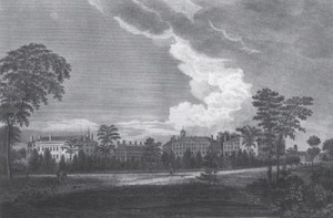 Northeast view of Harvard College in 1823.  Courtesy of the Harvard University Archives.