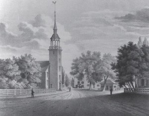 Harvard Square, Cambridge, when Waldo Emerson attended school there. Courtesy of the Cambridge Historcial Society