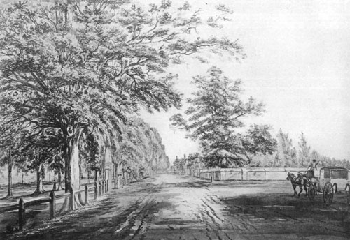 Tremont Street, Boston, in the early 1800s. Courtesy of the Boston Athenæum.