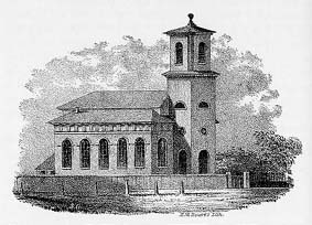 An early engraving of Christ Church, Cambridge. The church was completed in 1761